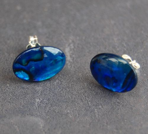 Paua Stud Earrings PE04 14x10mm BLUE OVAL (LARGE)
